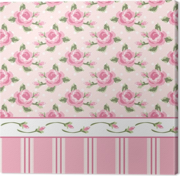 Wallpaper With Roses 1 Canvas Print