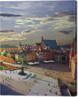 Warsaw castle square and sunset Canvas Print