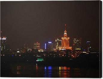 Warszawa nocą Canvas Print