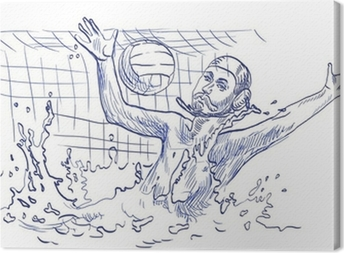 water polo, goalkeeper - hand drawing Canvas Print