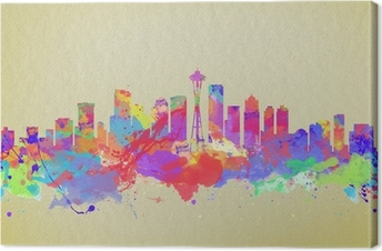 Watercolor art print of the skyline of Seattle United States Canvas Print