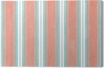 Watercolor blue and pink striped background. Canvas Print