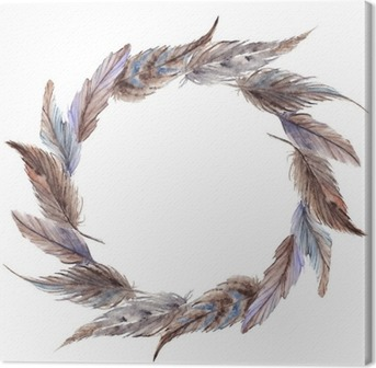 Watercolor brown gray grey feather wreath isolated Canvas Print
