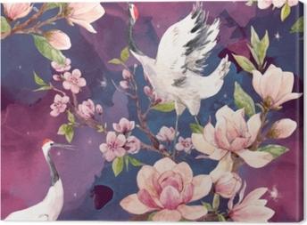 Watercolor crane vector pattern Canvas Print