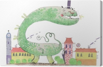 watercolor dragon Canvas Print