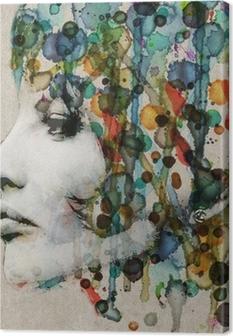 Watercolor female profile Canvas Print