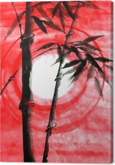 Watercolor ink Japanise bamboo on sunset Canvas Print
