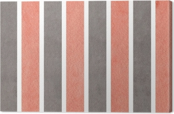 Watercolor pink and grey striped background. Canvas Print
