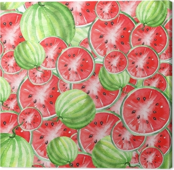 Watercolor seamless vintage pattern with watermelon pattern. Slices, watermelon fruit. The colors red and green. Canvas Print