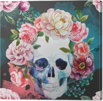 Watercolor skull Canvas Print