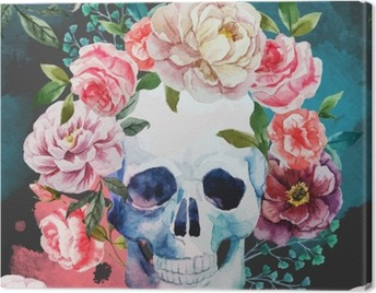 Watercolor skull Canvas Print