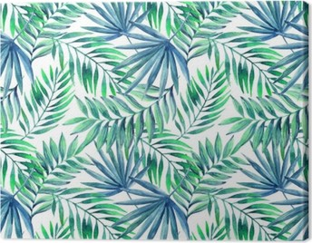 Watercolor tropical leaves seamless pattern Canvas Print