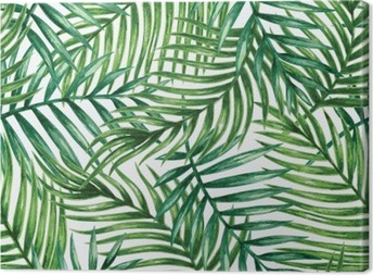 Watercolor tropical palm leaves seamless pattern. Vector illustration. Canvas Print