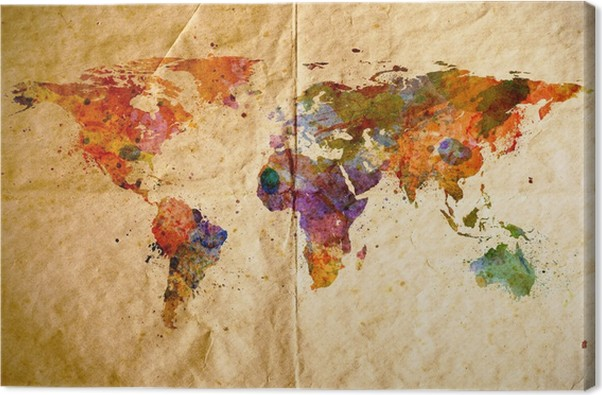 Watercolor world map old paper background canvas print pixers watercolor world map old paper background canvas print gumiabroncs Gallery