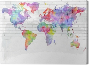 watercolor world map on a brick wall Canvas Print