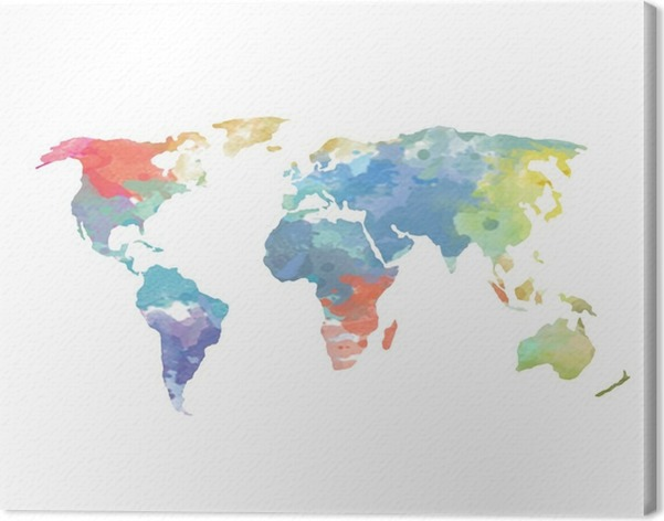 Watercolor world map poster canvas print pixers we live to change watercolor world map poster canvas print wall decals gumiabroncs Image collections