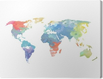 Watercolor World Map Poster Canvas Print
