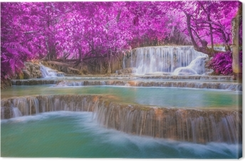 Waterfall in rain forest (Tat Kuang Si Waterfalls at Luang praba Canvas Print
