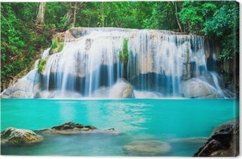 Waterfall in the Jungle at Kanchanaburi Province, Thailand Canvas Print