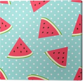 Watermelon seamless pattern with polka dots Canvas Print
