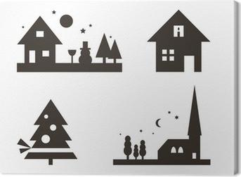 Weihnachtliche Silhouetten: Landschaft, Weihnachtsbaum, ... Canvas Print