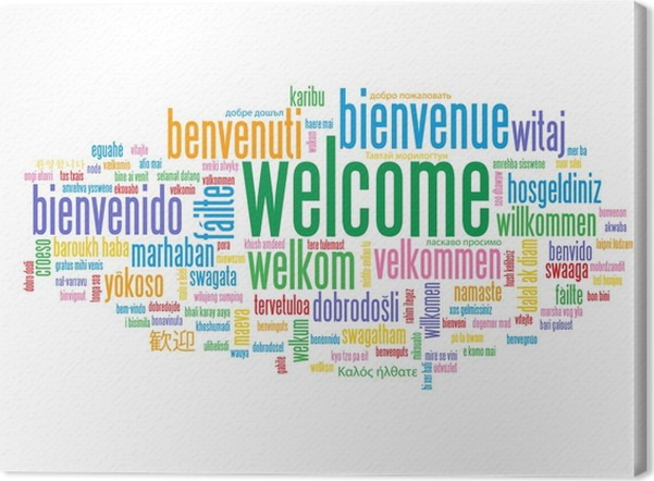 Welcome tag cloud customer service greetings home smile card welcome tag cloud customer service greetings home smile card canvas print m4hsunfo