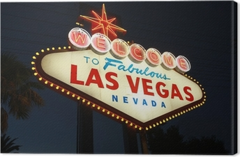 Welcome To Las Vegas neon sign at night Canvas Print