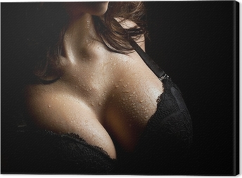Wet breast in bra Canvas Print
