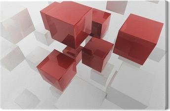 White 3d boxes / cube   Business Concept Wallpaper Canvas Print