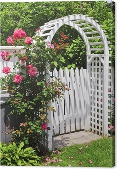 White arbor with red blooming roses in a garden Canvas Print