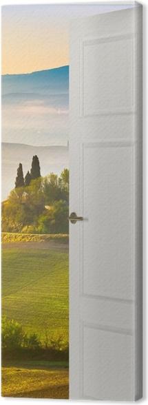 White door - Tuscany at dawn Canvas Print -