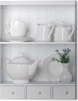 White shelf with vintage porcelain tableware Canvas Print