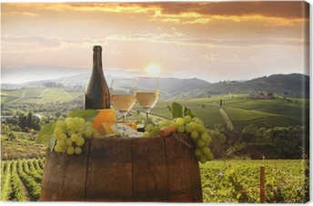 White wine with barell in vineyard, Chianti, Tuscany, Italy Canvas Print