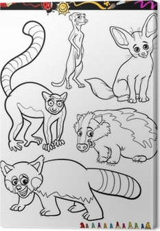 wild animals set for coloring book Canvas Print