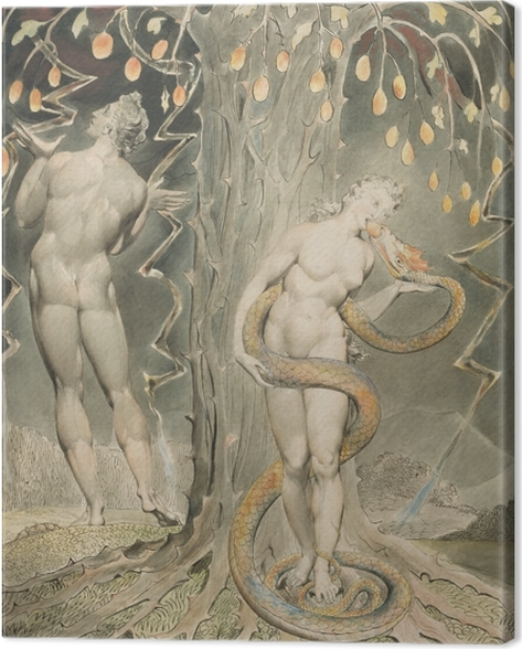 William Blake - Eve Tempted by the Serpent Canvas Print - Reproductions