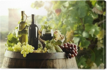 Wine with cask and vineyard Canvas Print