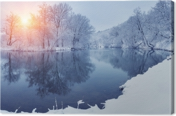 Winter Forest On The River At Sunset Panoramic Landscape With Snowy Trees Sun Beautiful Frozen River With Reflection In Water Seasonal Winter Trees Lake And Blue Sky Frosty Snowy River Weather Canvas