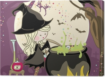 witch stirring a potion in cauldron Canvas Print