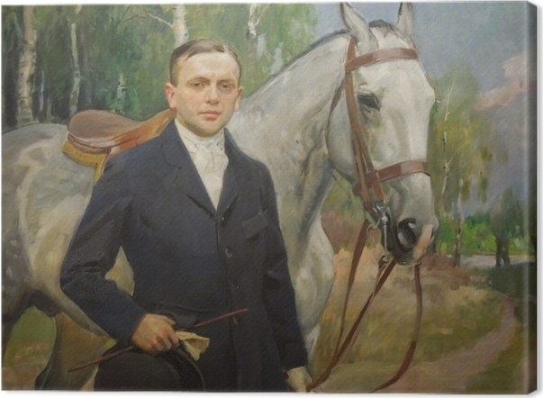 Wojciech Kossak - Portrait of Bronisław Krystall with a Horse Canvas Print - Reproductions