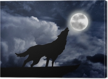 Wolf howling at the full moon Canvas Print