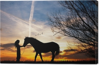 woman and horse Canvas Print