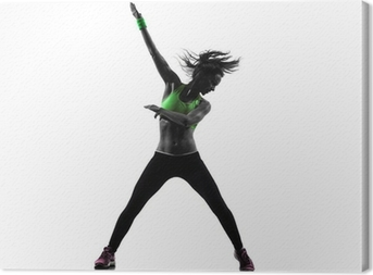 woman exercising fitness zumba dancing silhouette Canvas Print