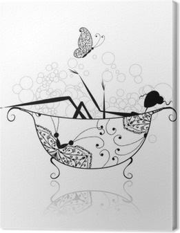 Woman in bathroom with foam for your design Canvas Print
