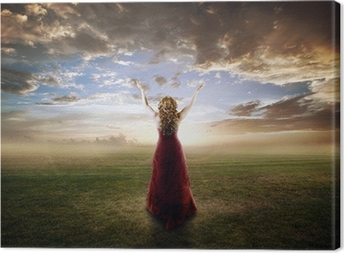 Woman praising Canvas Print
