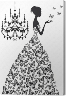 woman with butterflies, vector Canvas Print