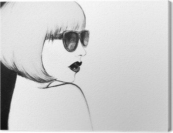woman with glasses. watercolor illustration Canvas Print