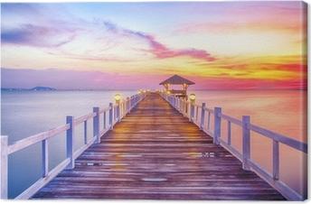 Wooded bridge in the port between sunrise Canvas Print