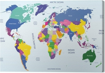 world geographical and political map Canvas Print