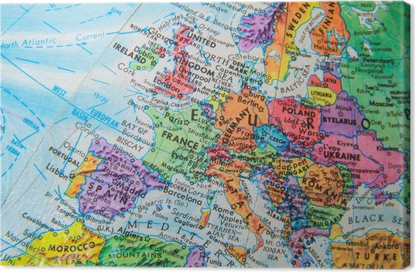 World globe map close up of europe canvas print pixers we live world globe map close up of europe canvas print gumiabroncs Images