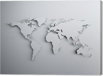 World map 3D Canvas Print